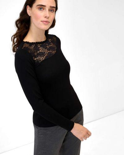 T-shirt dzianinowa - czarna Orsay