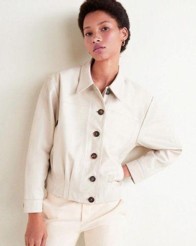 Кожаная куртка весенняя белая Mango