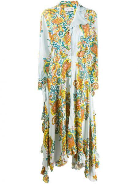 Шелковое синее платье макси на пуговицах Lanvin