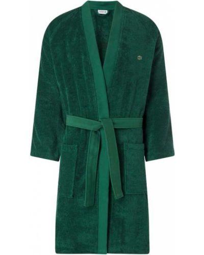 Zielony szlafrok bawełniany z raglanowymi rękawami Lacoste