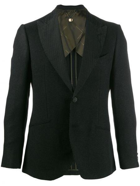 Черный прямой классический пиджак на пуговицах с карманами Maurizio Miri