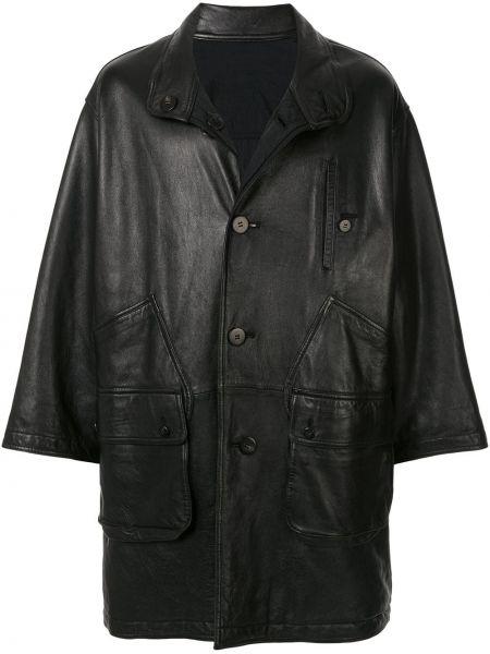 Кожаное черное пальто классическое двустороннее с воротником Issey Miyake Pre-owned
