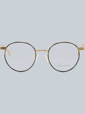 Klasyczne złote czarne okulary Bottega Veneta