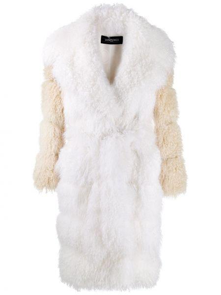 Свободное белое кожаное длинное пальто Simonetta Ravizza