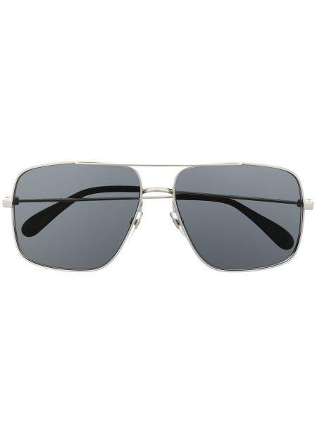 Серебряные солнцезащитные очки оверсайз металлические Givenchy Eyewear