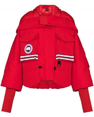 Хлопковый красный пуховик с капюшоном Canada Goose