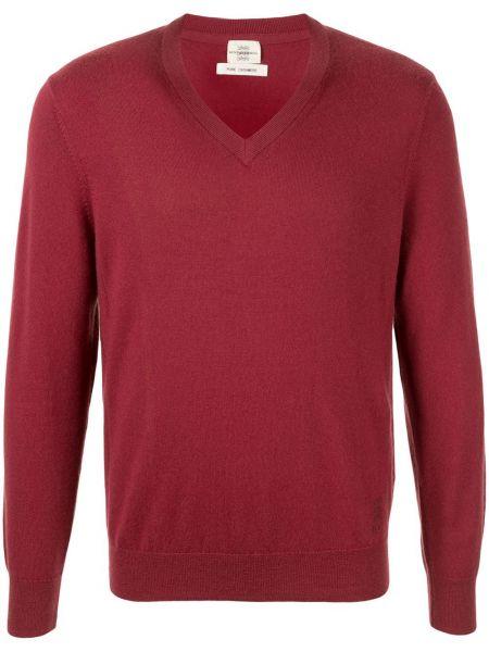 Z kaszmiru prążkowany pulower z haftem Kent & Curwen