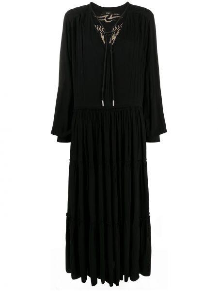 Расклешенное черное платье миди с длинными рукавами Diesel