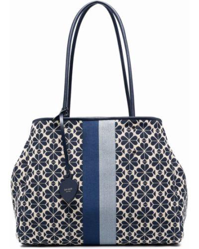 Niebieska torebka duża skórzana w kwiaty Kate Spade