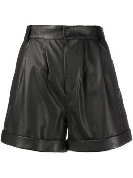 Черные кожаные шорты с карманами Federica Tosi