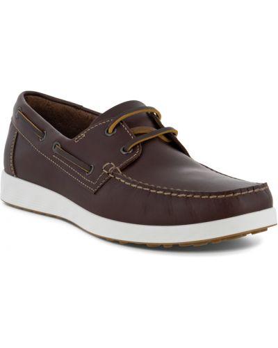 Коричневые кожаные мокасины на шнурках Ecco