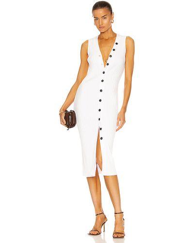Шелковое вязаное белое платье-свитер Enza Costa