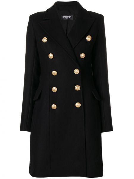 Черное кашемировое пальто классическое двубортное Balmain