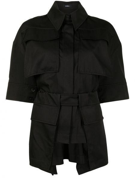 Хлопковая черная классическая рубашка с короткими рукавами Goen.j