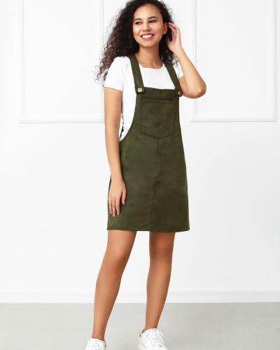 Замшевое сарафан - зеленое Fashion Girl