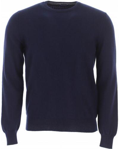 Niebieski z kaszmiru sweter z długimi rękawami Barba