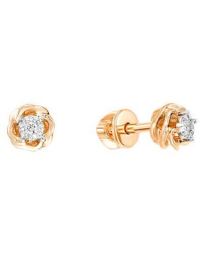 Серьги-гвоздики с бриллиантом золотые ювелирные традиции