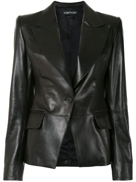 Однобортный черный кожаный удлиненный пиджак Tom Ford