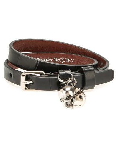 Черный браслет металлический с тиснением матовый Alexander Mcqueen