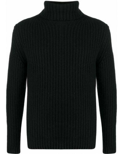Кашемировый черный джемпер с высоким воротником в рубчик Incentive! Cashmere