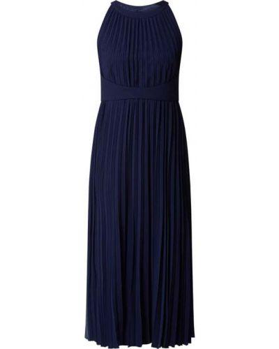 Niebieska sukienka koktajlowa rozkloszowana z szyfonu V.m.