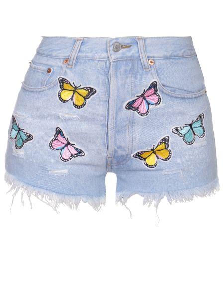 Хлопковые джинсовые шорты со стразами с карманами на пуговицах Forte Couture