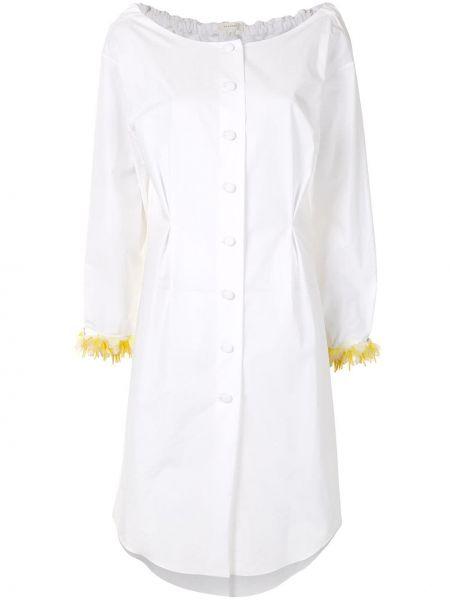 Белое платье макси с длинными рукавами с манжетами из вискозы Delpozo