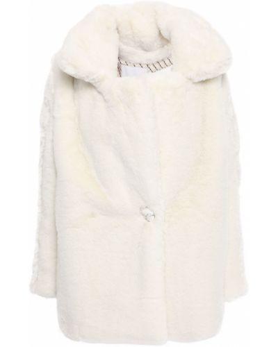Бежевое пальто из искусственного меха с карманами Each X Other