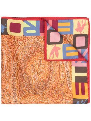 Pomarańczowy szalik z jedwabiu z printem Etro