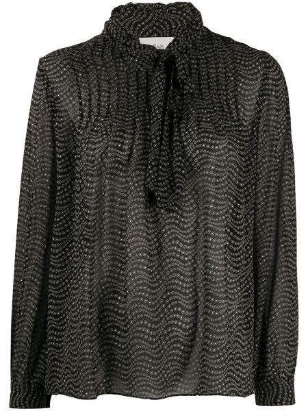 Черная с рукавами блузка из вискозы Ba&sh