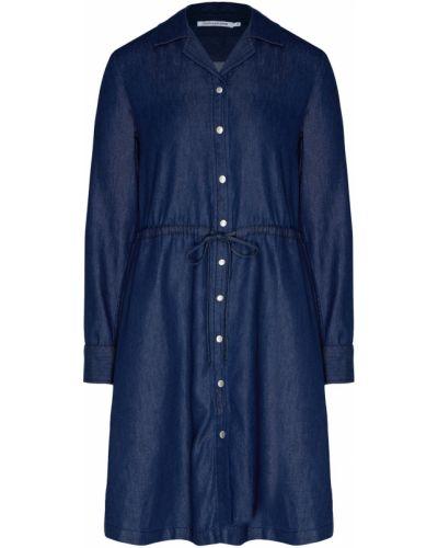 Платье мини джинсовое с отложным воротником Calvin Klein