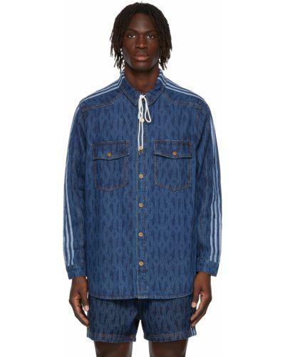 Синяя рубашка с нашивками Adidas X Ivy Park