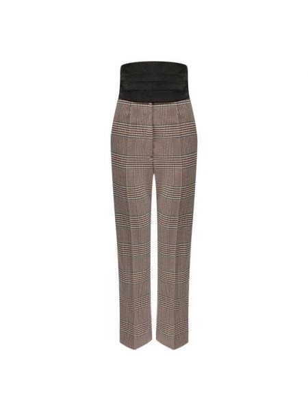 Коричневые классические брюки с воротником с карманами из вискозы Mm6