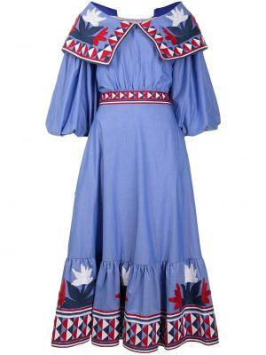 Хлопковое расклешенное платье с вырезом с вышивкой Stella Jean
