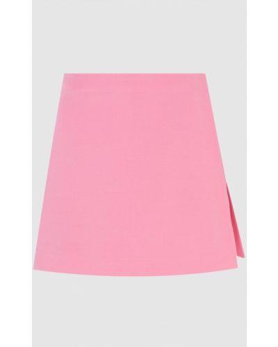Розовая шерстяная юбка мини с запахом Valentino