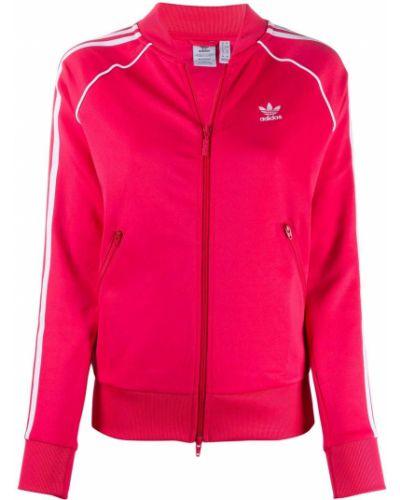 Розовая спортивная куртка на молнии с воротником с вышивкой Adidas