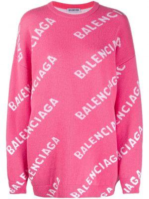 Шерстяной розовый джемпер с вырезом круглый Balenciaga