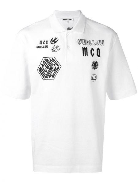 Klasyczna koszula krótki rękaw bawełniana z haftem Mcq Alexander Mcqueen