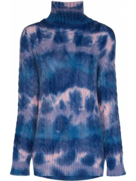 Синий свитер из мохера с высоким воротником Moncler Grenoble