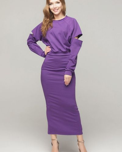Фиолетовый юбочный костюм Malaeva