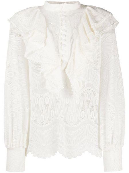 Bluzka koronkowa z długimi rękawami z falbanami So Allure