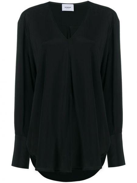 Шелковая черная блузка с длинным рукавом с V-образным вырезом с драпировкой Dondup