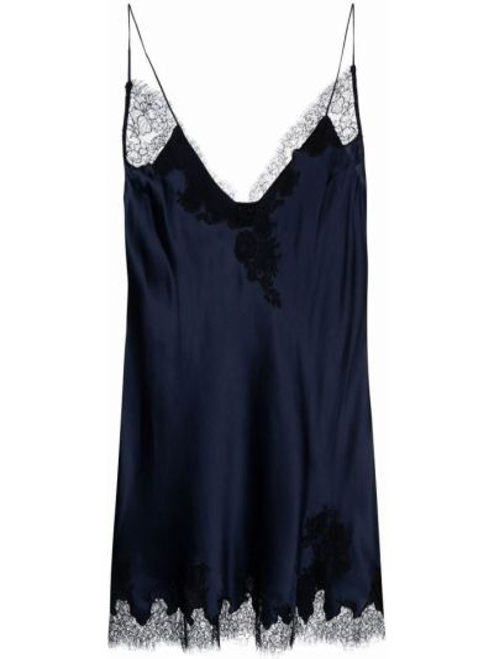 Синее шелковое прямое платье с V-образным вырезом Carine Gilson