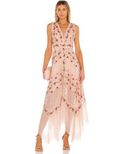 Różowa sukienka asymetryczna tiulowa Bcbgmaxazria