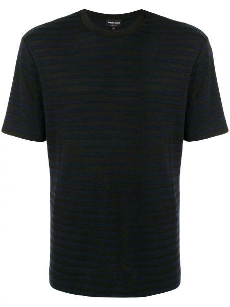 Czarny t-shirt w paski krótki rękaw Giorgio Armani