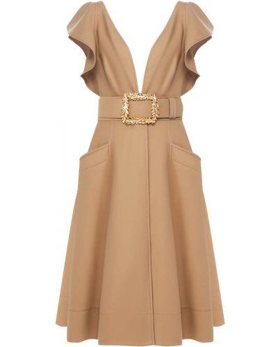 Платье с поясом с декольте в рубчик Oscar De La Renta