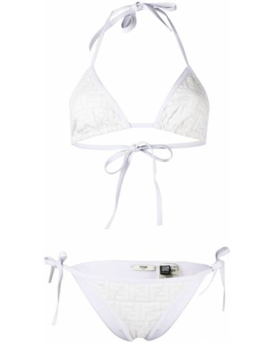 Белые бикини для полных с подкладкой Fendi