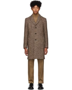 Długi płaszcz kurtka grochowa z kołnierzem Boss