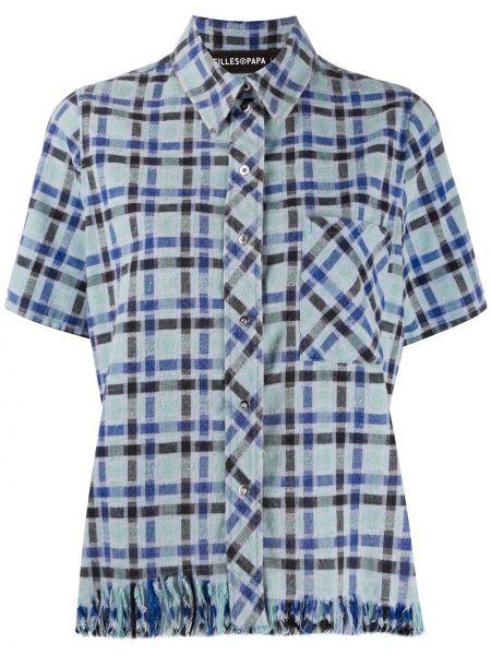 Синяя с рукавами классическая рубашка в клетку Filles A Papa