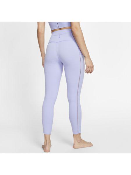Fioletowe legginsy z wysokim stanem w paski Nike